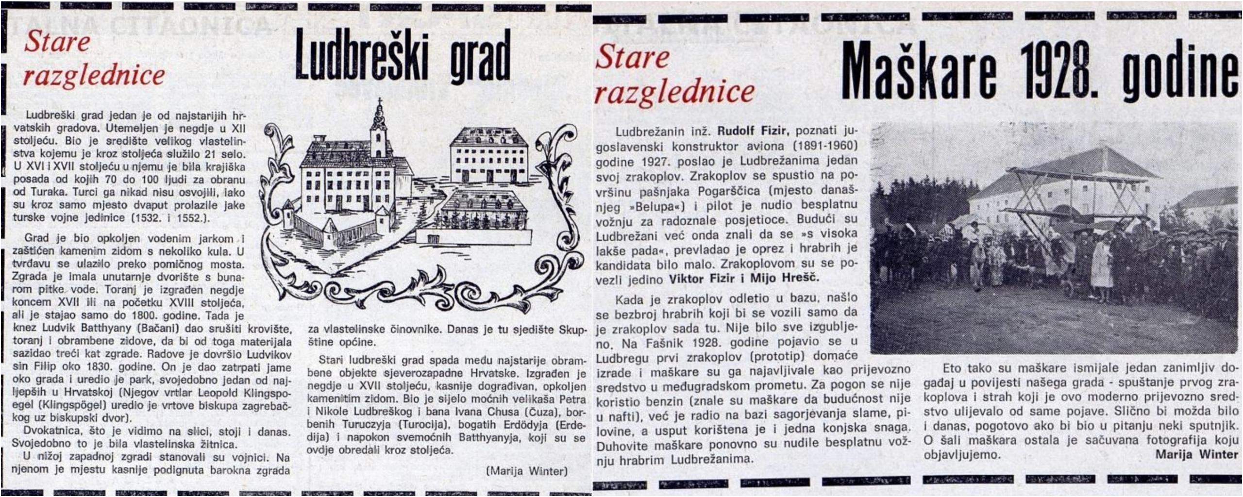 Tekstovi Marije Winter u Ludbreškom listu, 1982.
