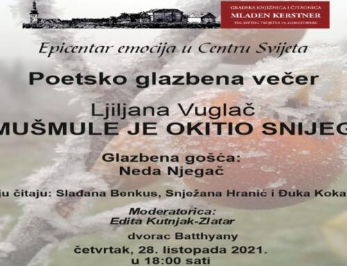 Najavljujemo: Poetsko glazbena večer Ljiljane Vuglač